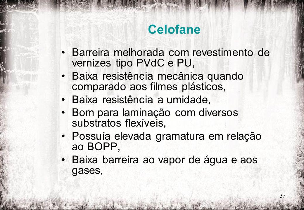 CelofaneBarreira melhorada com revestimento de vernizes tipo PVdC e PU, Baixa resistência mecânica quando comparado aos filmes plásticos,