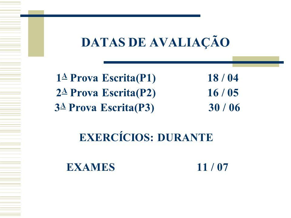 DATAS DE AVALIAÇÃO 1A Prova Escrita(P1) 18 / 04