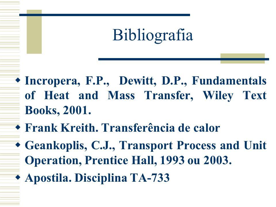 BibliografiaIncropera, F.P., Dewitt, D.P., Fundamentals of Heat and Mass Transfer, Wiley Text Books, 2001.