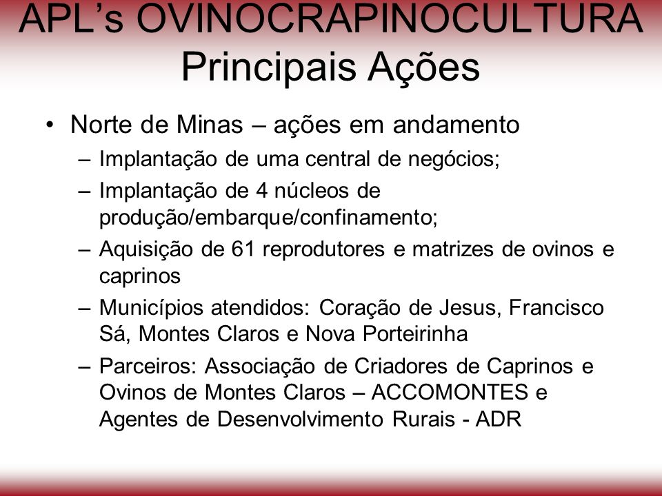 APL's OVINOCRAPINOCULTURA Principais Ações