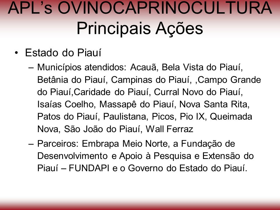 APL's OVINOCAPRINOCULTURA Principais Ações