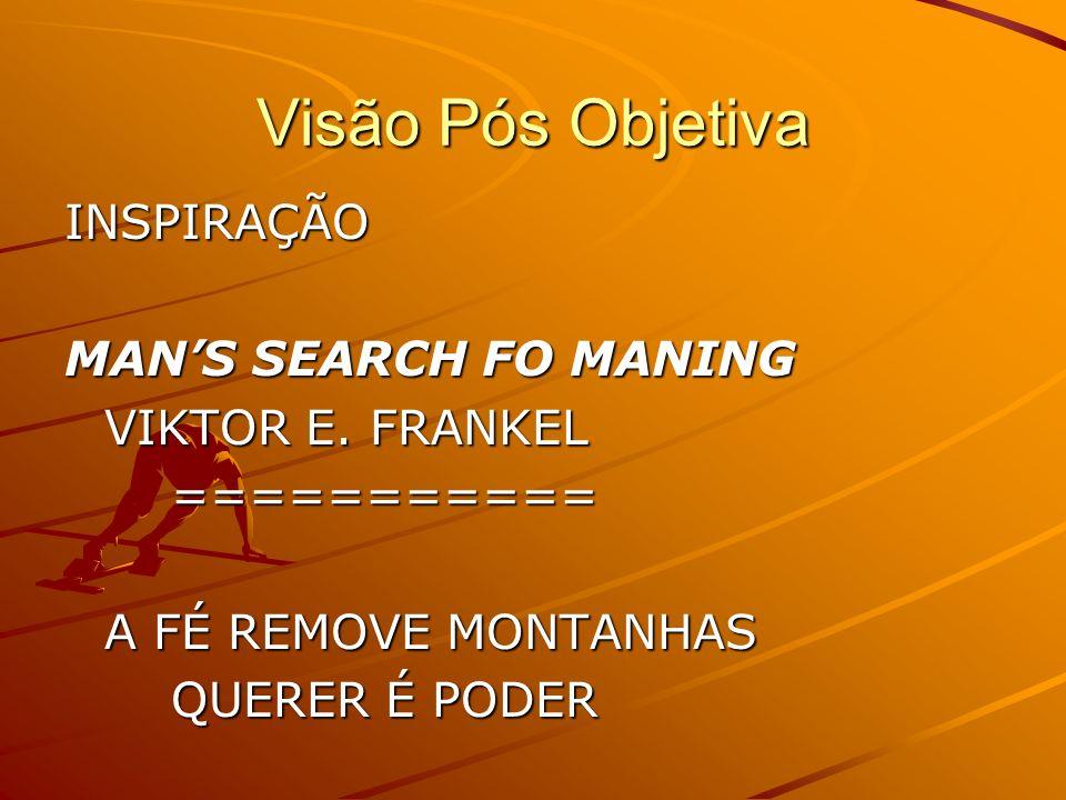 Visão Pós Objetiva INSPIRAÇÃO MAN'S SEARCH FO MANING VIKTOR E. FRANKEL