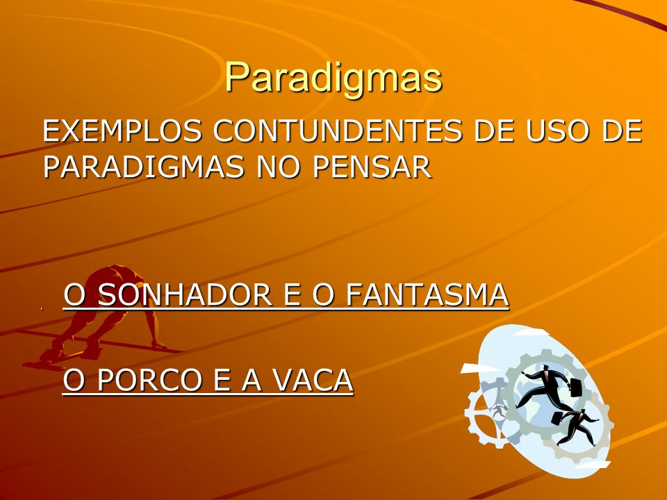 Paradigmas EXEMPLOS CONTUNDENTES DE USO DE PARADIGMAS NO PENSAR