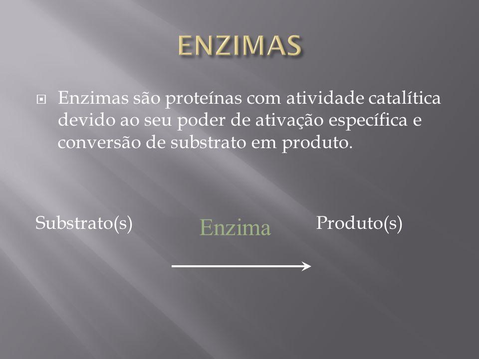 ENZIMAS Enzimas são proteínas com atividade catalítica devido ao seu poder de ativação específica e conversão de substrato em produto.