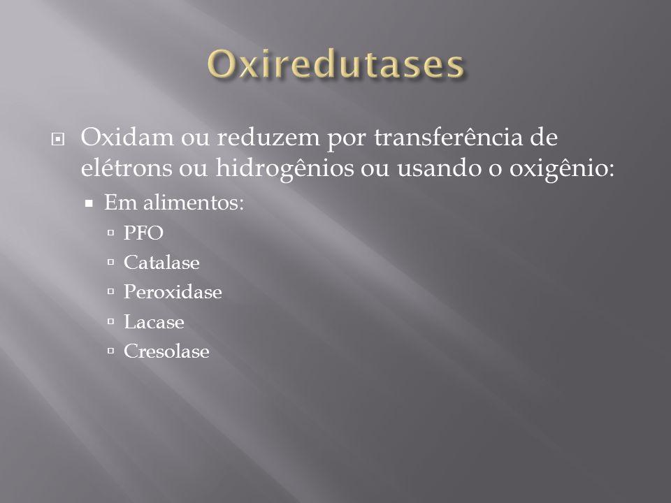 Oxiredutases Oxidam ou reduzem por transferência de elétrons ou hidrogênios ou usando o oxigênio: Em alimentos: