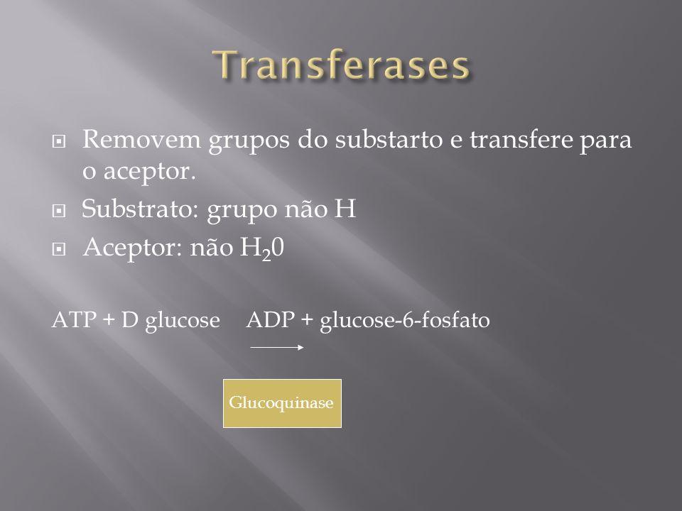 Transferases Removem grupos do substarto e transfere para o aceptor.