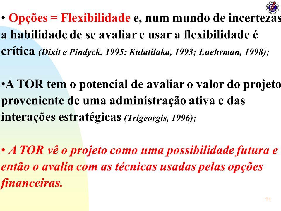 Opções = Flexibilidade e, num mundo de incertezas a habilidade de se avaliar e usar a flexibilidade é crítica (Dixit e Pindyck, 1995; Kulatilaka, 1993; Luehrman, 1998);