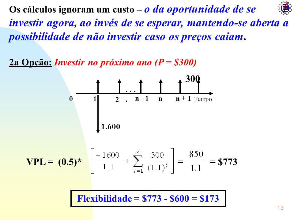 2a Opção: Investir no próximo ano (P = $300)