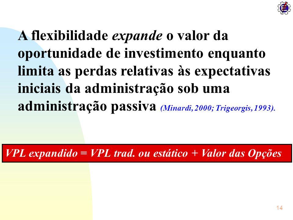 A flexibilidade expande o valor da oportunidade de investimento enquanto limita as perdas relativas às expectativas iniciais da administração sob uma administração passiva (Minardi, 2000; Trigeorgis, 1993).