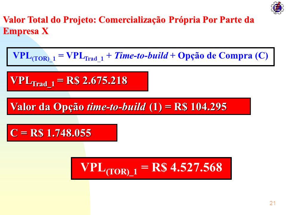 VPL(TOR)_1 = VPLTrad_1 + Time-to-build + Opção de Compra (C)
