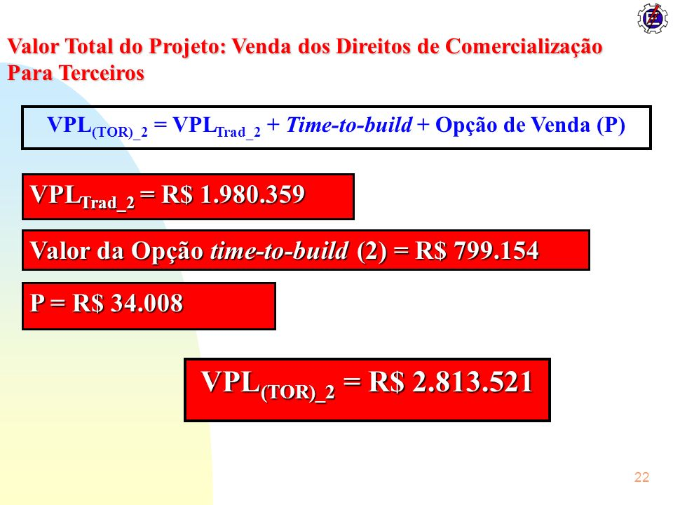 VPL(TOR)_2 = VPLTrad_2 + Time-to-build + Opção de Venda (P)