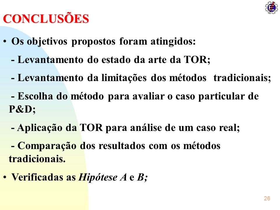 CONCLUSÕES Os objetivos propostos foram atingidos: