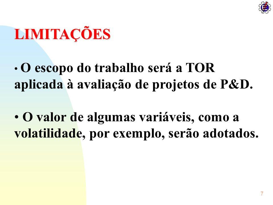 LIMITAÇÕES O escopo do trabalho será a TOR aplicada à avaliação de projetos de P&D.