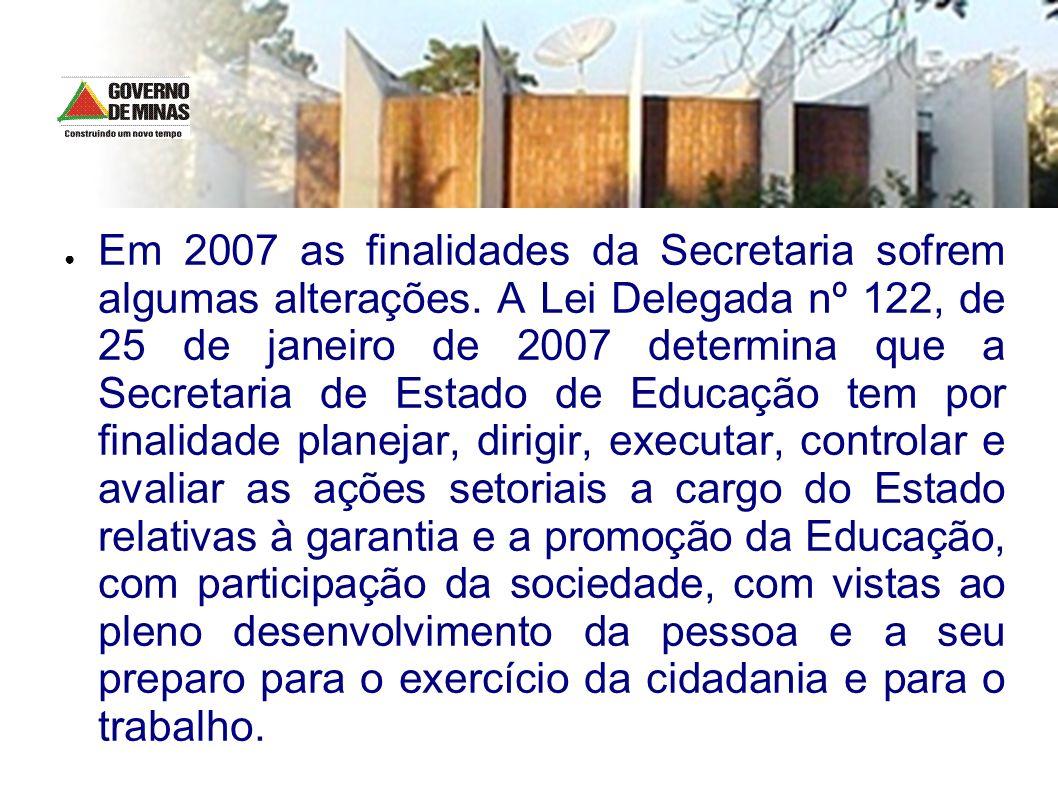 Em 2007 as finalidades da Secretaria sofrem algumas alterações