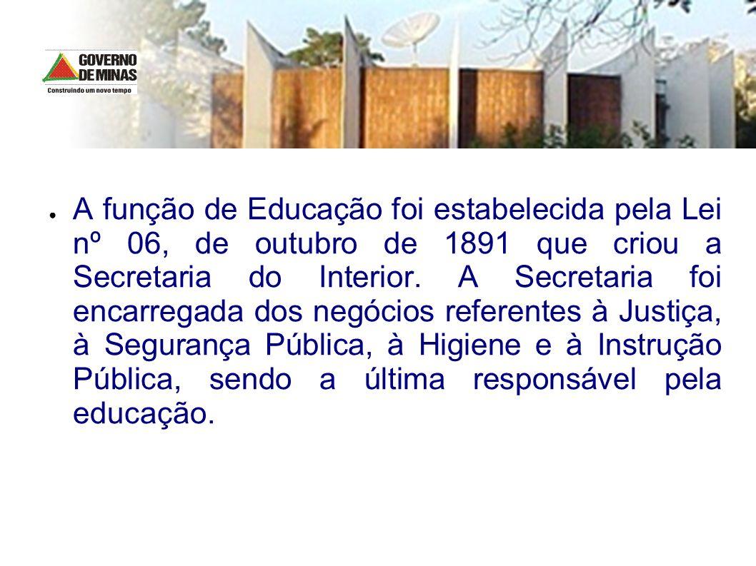 A função de Educação foi estabelecida pela Lei nº 06, de outubro de 1891 que criou a Secretaria do Interior.
