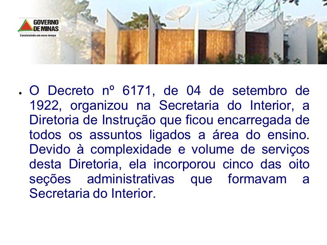 O Decreto nº 6171, de 04 de setembro de 1922, organizou na Secretaria do Interior, a Diretoria de Instrução que ficou encarregada de todos os assuntos ligados a área do ensino.