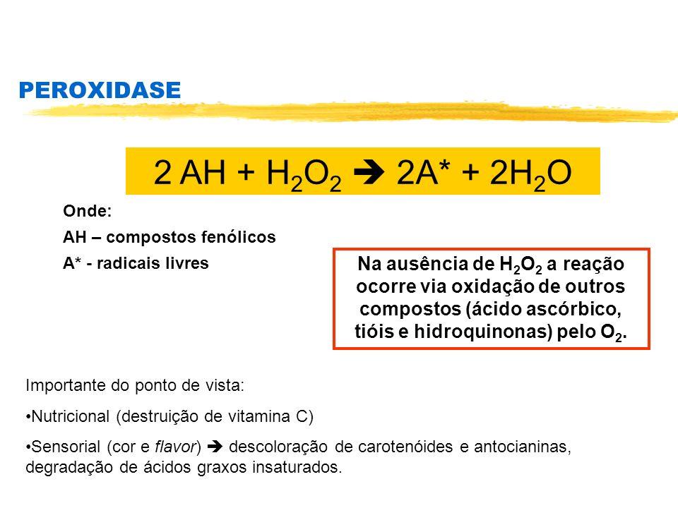 2 AH + H2O2  2A* + 2H2O PEROXIDASE
