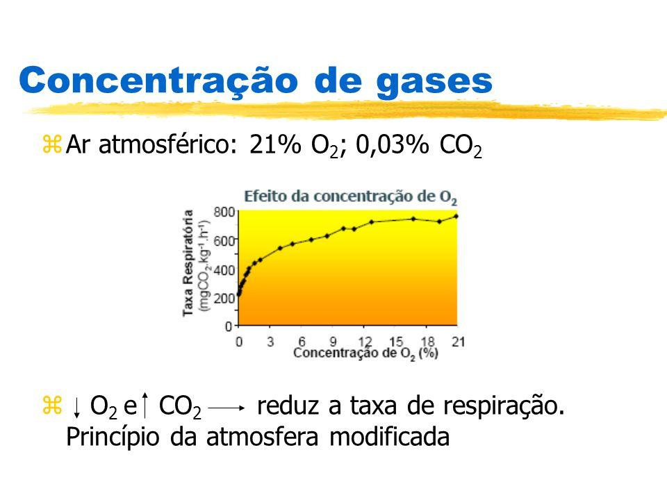 Concentração de gases Ar atmosférico: 21% O2; 0,03% CO2
