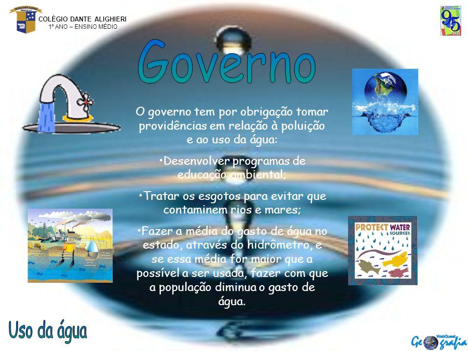 Governo O governo tem por obrigação tomar providências em relação à poluição e ao uso da água: Desenvolver programas de educação ambiental;