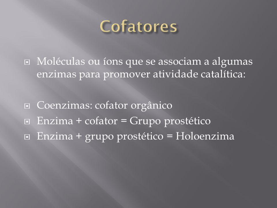 Cofatores Moléculas ou íons que se associam a algumas enzimas para promover atividade catalítica: Coenzimas: cofator orgânico.
