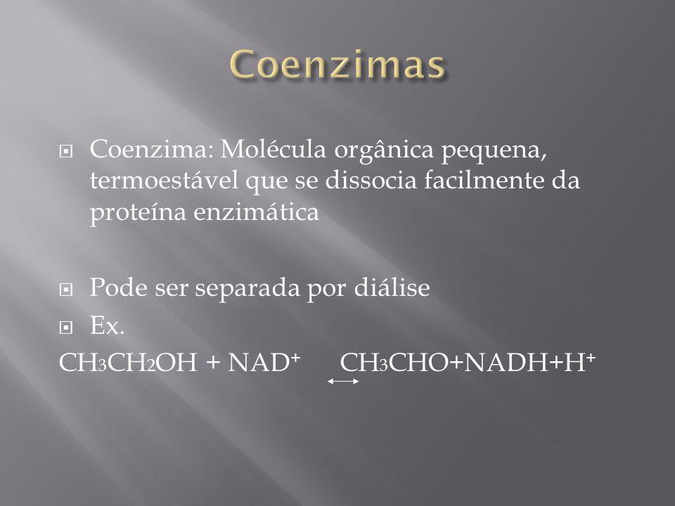 Coenzimas Coenzima: Molécula orgânica pequena, termoestável que se dissocia facilmente da proteína enzimática.