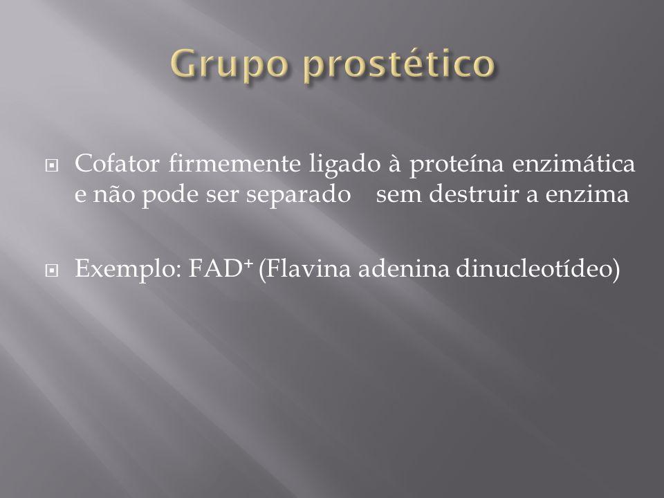 Grupo prostético Cofator firmemente ligado à proteína enzimática e não pode ser separado sem destruir a enzima.