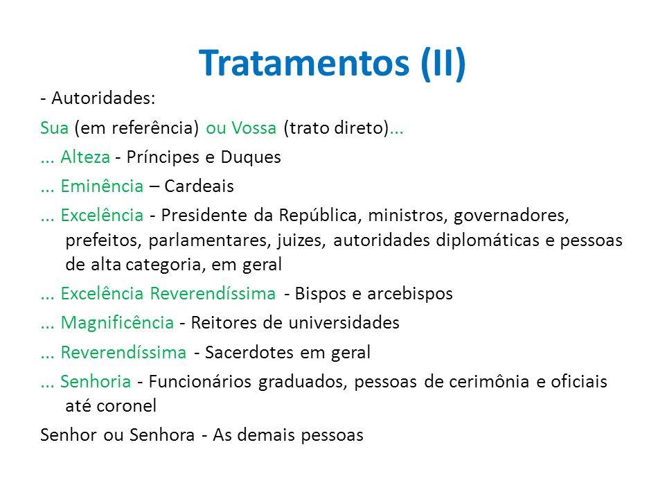 Tratamentos (II)