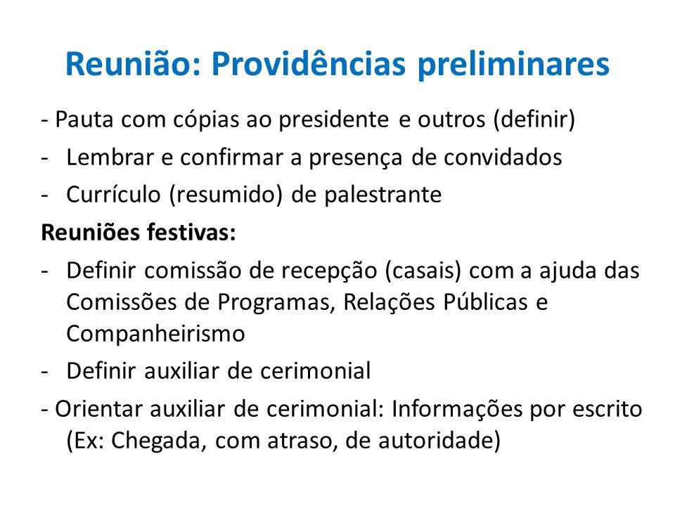 Reunião: Providências preliminares