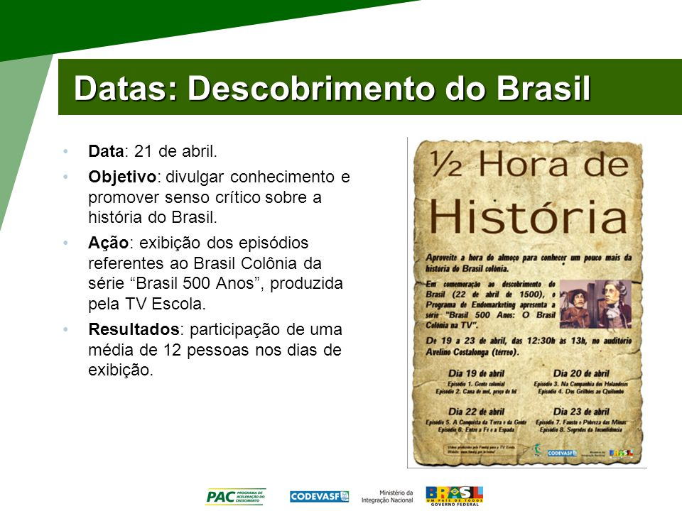 Datas: Descobrimento do Brasil