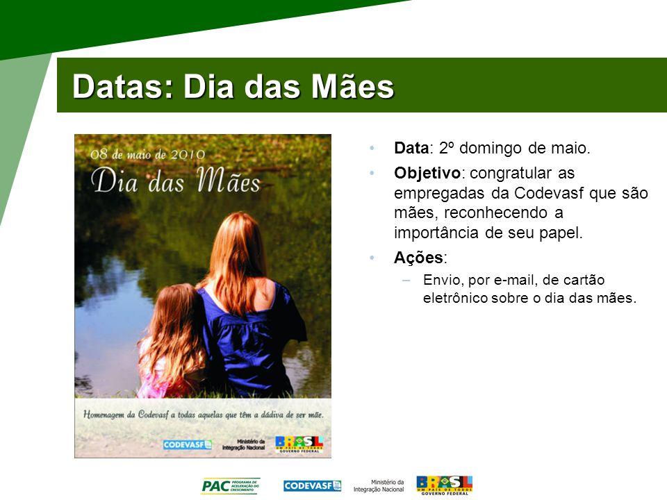 Datas: Dia das Mães Data: 2º domingo de maio.