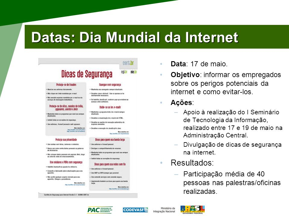Datas: Dia Mundial da Internet