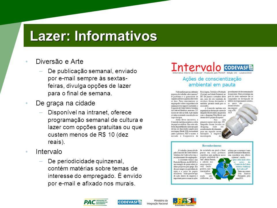 Lazer: Informativos Diversão e Arte De graça na cidade Intervalo