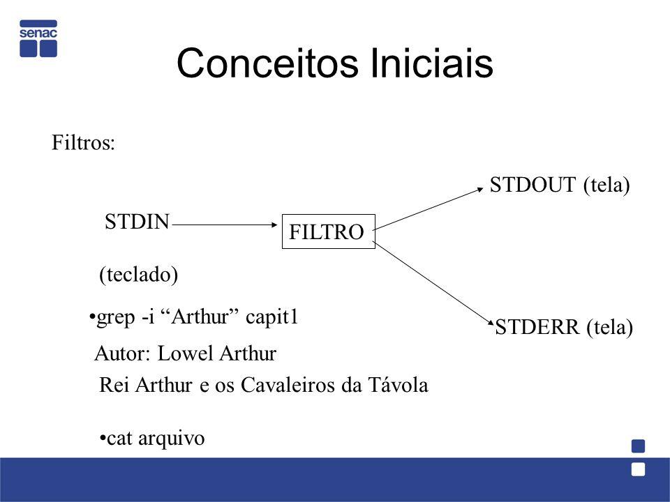 Conceitos Iniciais Filtros: STDOUT (tela) STDIN FILTRO (teclado)