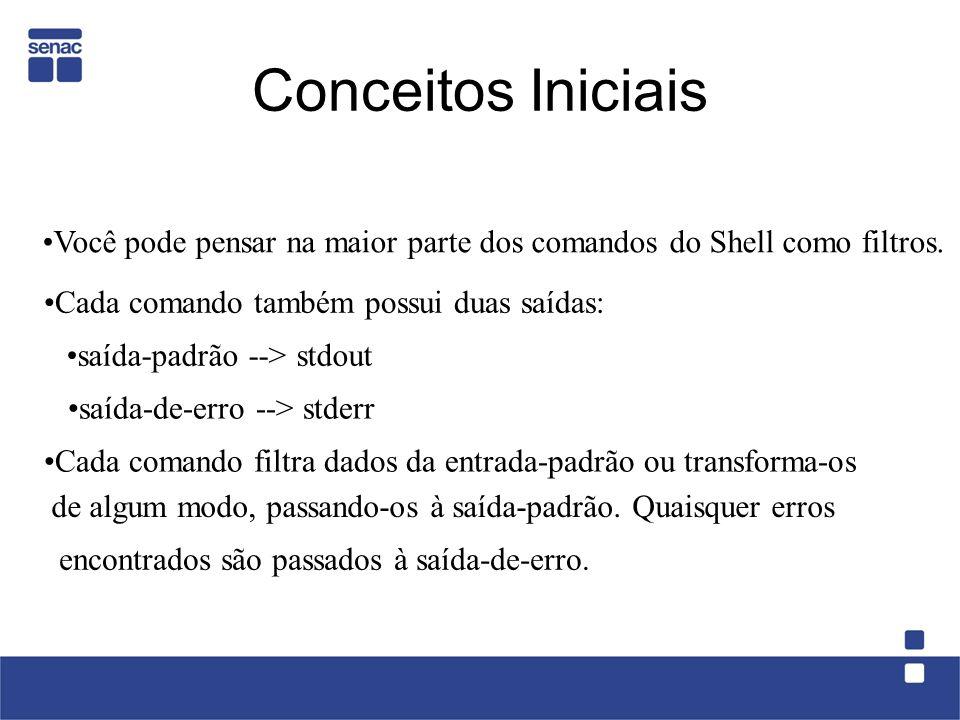 Conceitos Iniciais Você pode pensar na maior parte dos comandos do Shell como filtros. Cada comando também possui duas saídas:
