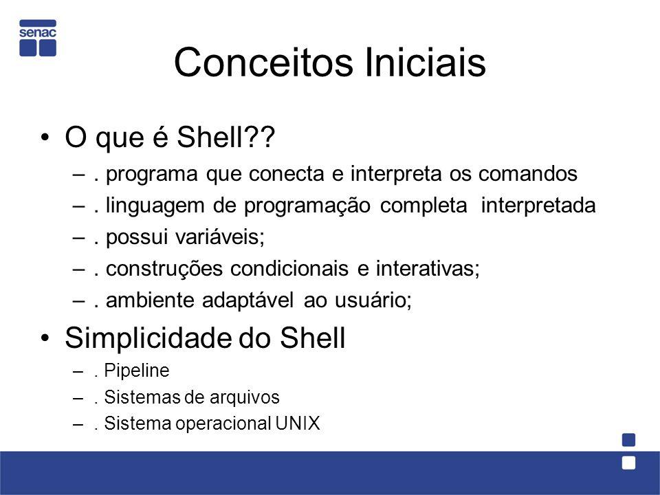 Conceitos Iniciais O que é Shell Simplicidade do Shell