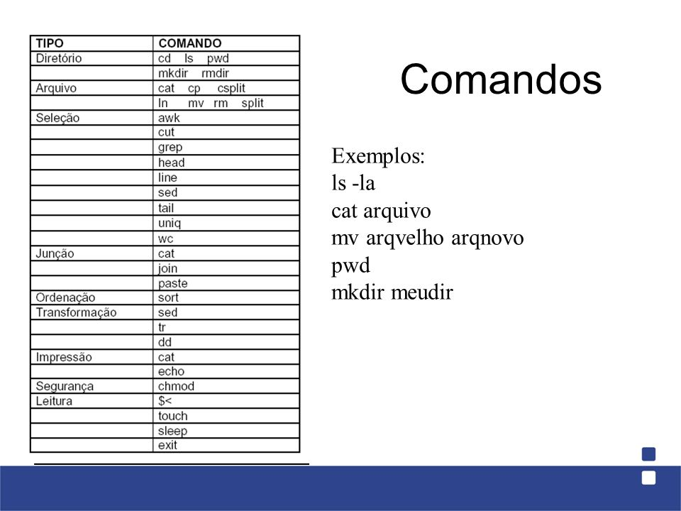 Comandos Exemplos: ls -la cat arquivo mv arqvelho arqnovo pwd