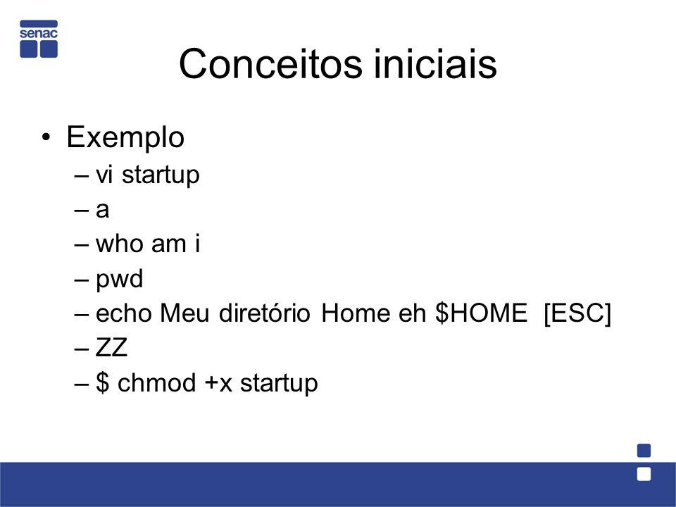 Conceitos iniciais Exemplo vi startup a who am i pwd