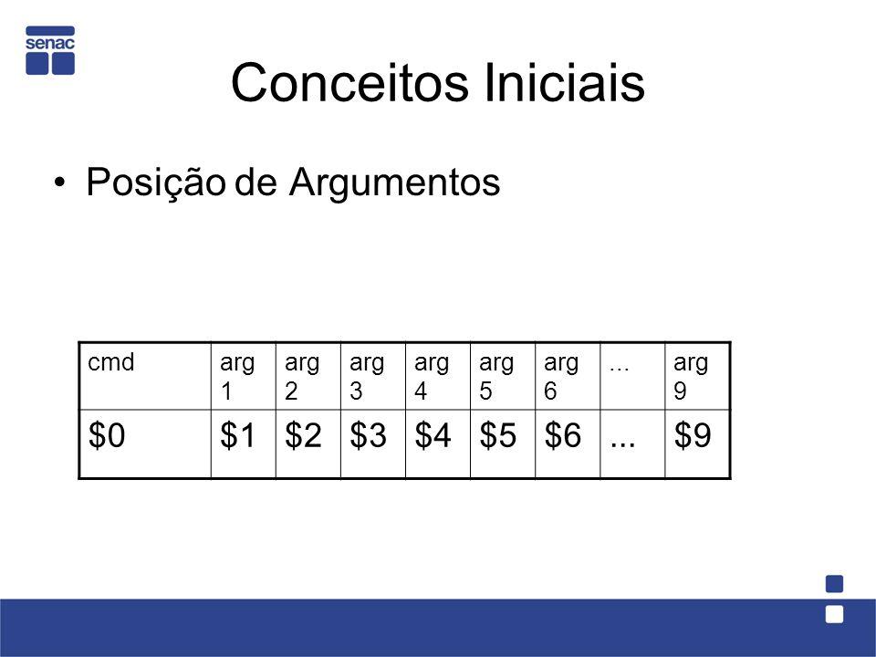 Conceitos Iniciais Posição de Argumentos $0 $1 $2 $3 $4 $5 $6 $9 cmd