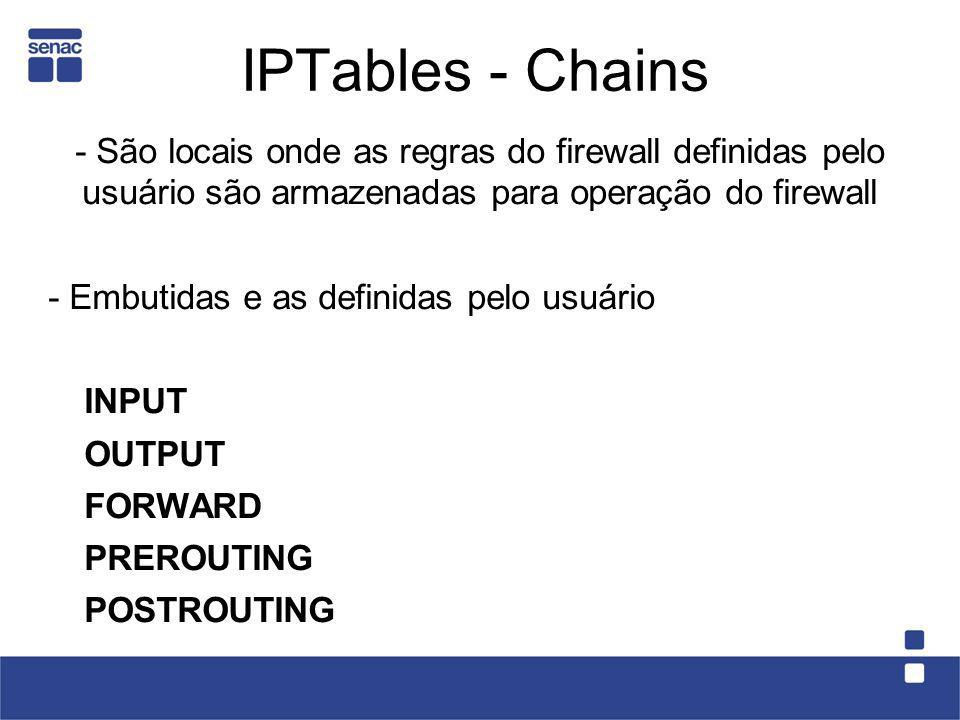 IPTables - Chains- São locais onde as regras do firewall definidas pelo usuário são armazenadas para operação do firewall.