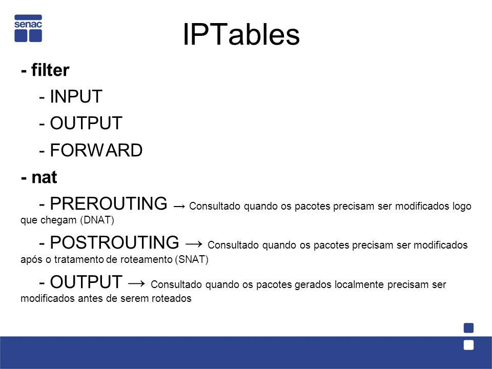 IPTables - filter - INPUT - OUTPUT - FORWARD - nat