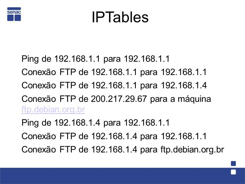 IPTablesPing de 192.168.1.1 para 192.168.1.1. Conexão FTP de 192.168.1.1 para 192.168.1.1. Conexão FTP de 192.168.1.1 para 192.168.1.4.