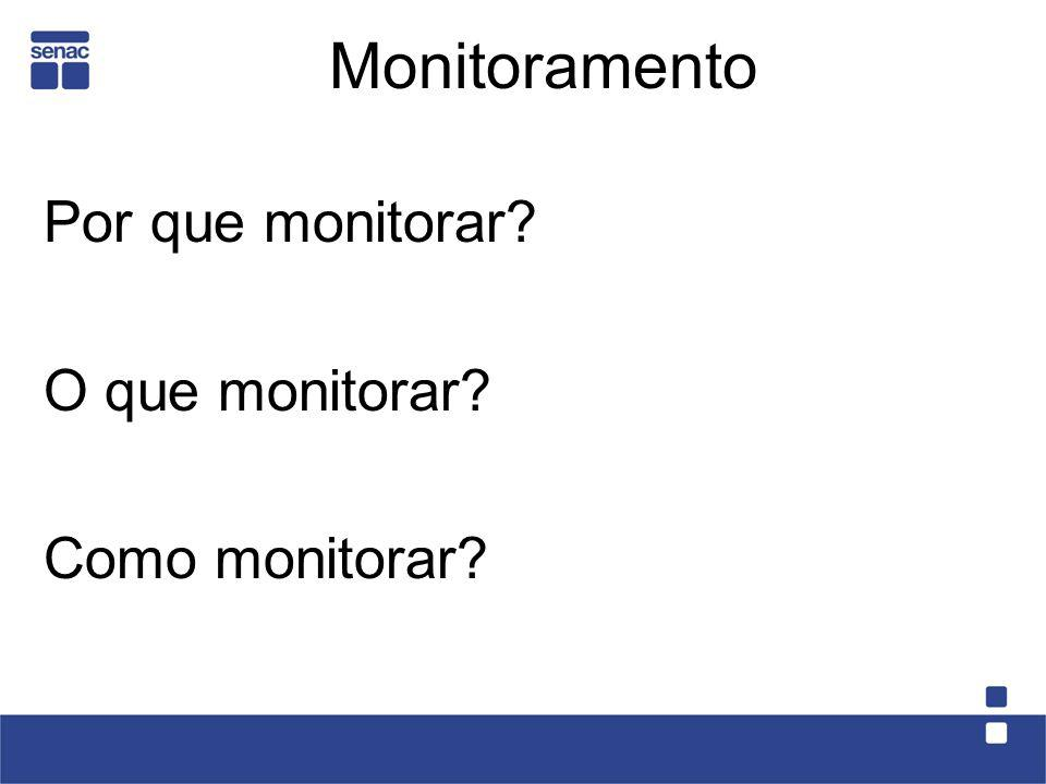 Monitoramento Por que monitorar O que monitorar Como monitorar