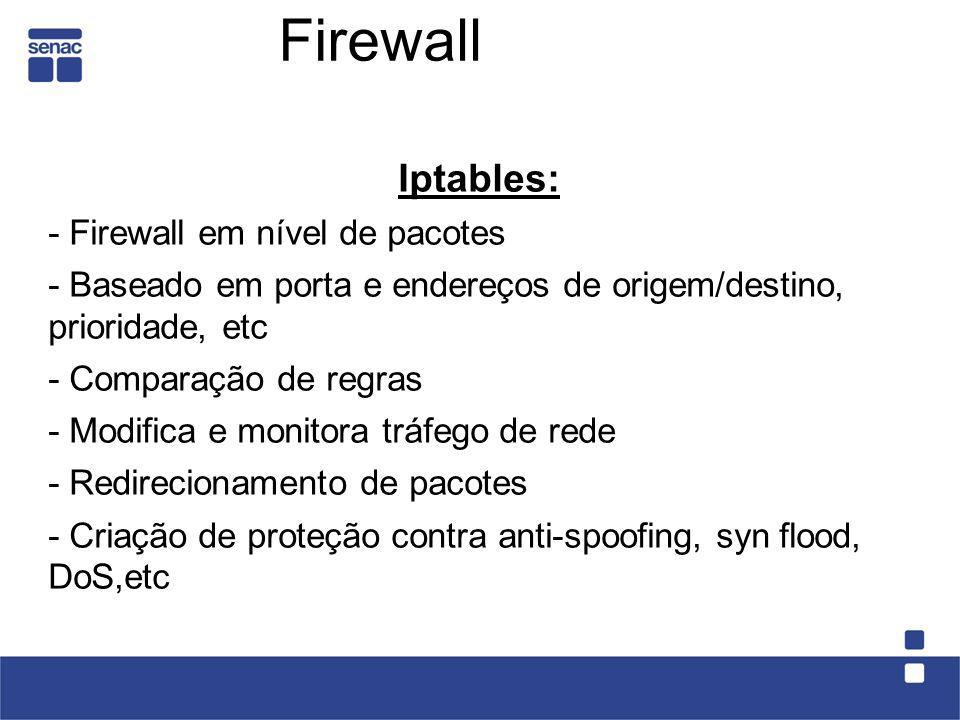 Firewall Iptables: - Firewall em nível de pacotes