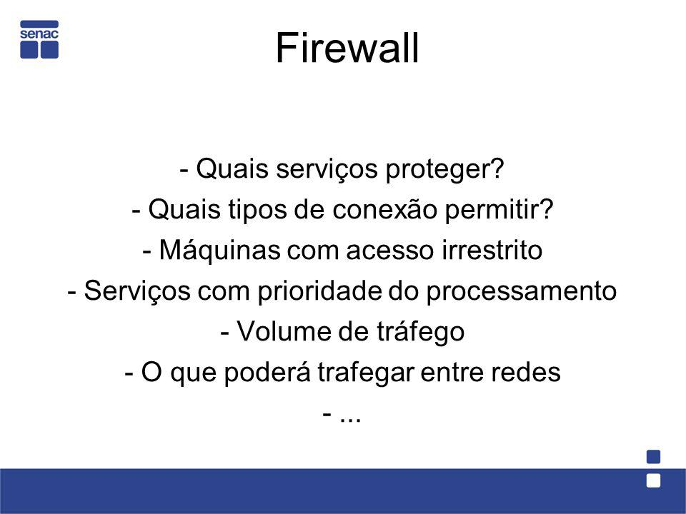 Firewall - Quais serviços proteger - Quais tipos de conexão permitir