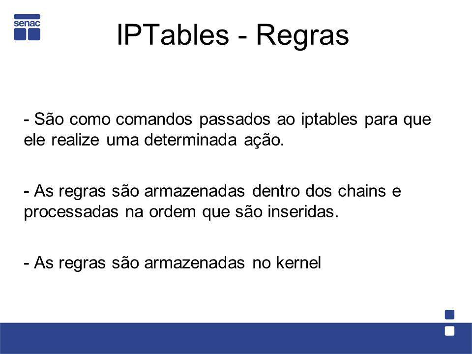 IPTables - Regras - São como comandos passados ao iptables para que ele realize uma determinada ação.