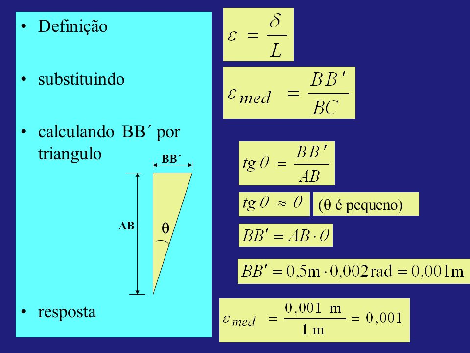 calculando BB´ por triangulo