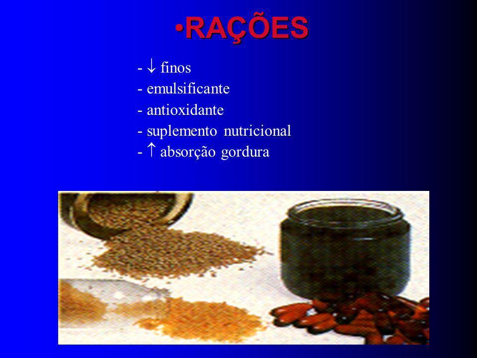 RAÇÕES -  finos - emulsificante - antioxidante