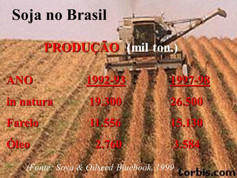 Soja no Brasil PRODUÇÃO (mil ton.) ANO 1992-93 in natura 19.300