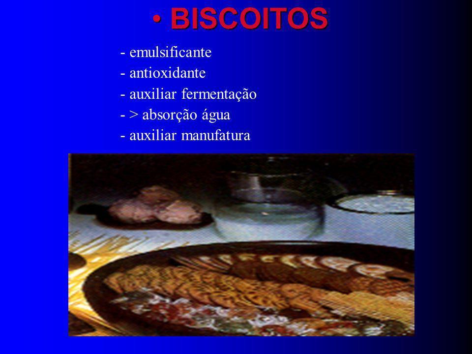 BISCOITOS - emulsificante - antioxidante - auxiliar fermentação