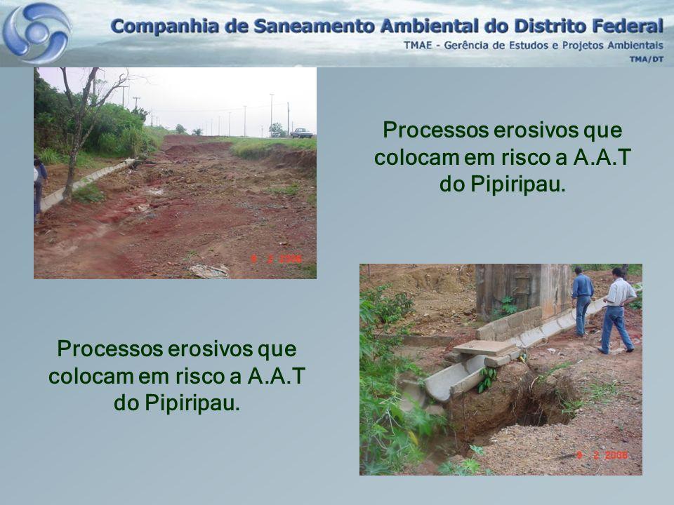 Processos erosivos que colocam em risco a A.A.T do Pipiripau.